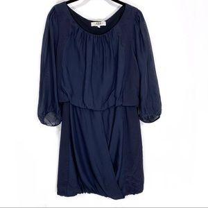 Tibi Navy Blue Draped Silk Dress